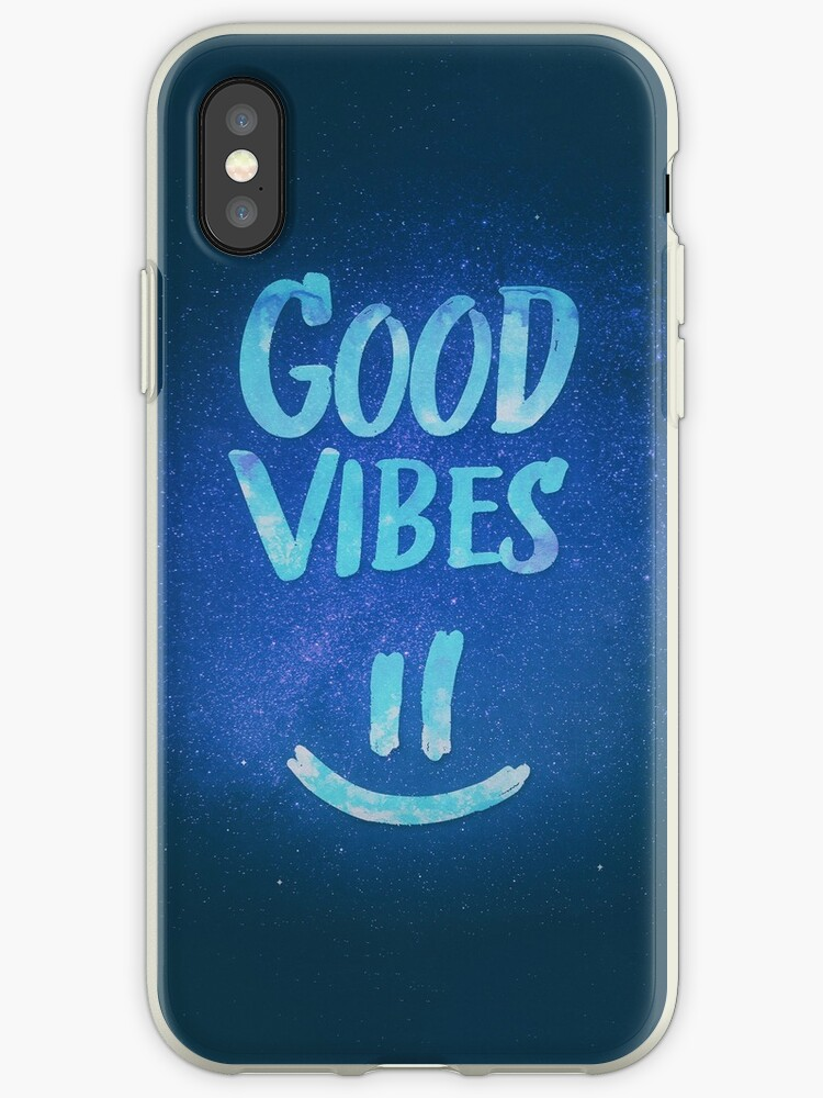'Good Vibes - Funny Smiley Statement / Happy Face (Blue Stars Edit)' iPhone  Case by badbugs