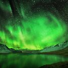Aurora over a fiord by Peter Hammer