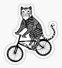 Cat on a Bike Ride  Sticker