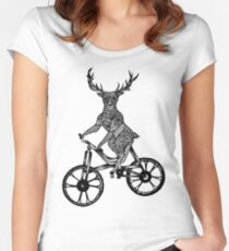 Funny Deer Aztec on a Bicycle  Women's Fitted Scoop T-Shirt