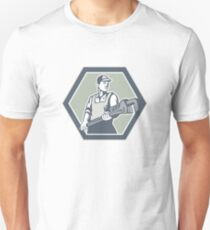 Plumber Holding Plumbing Wrench Retro Unisex T-Shirt