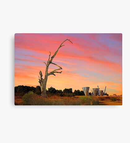 Sunset At Water Dance Sculptures Canvas Print