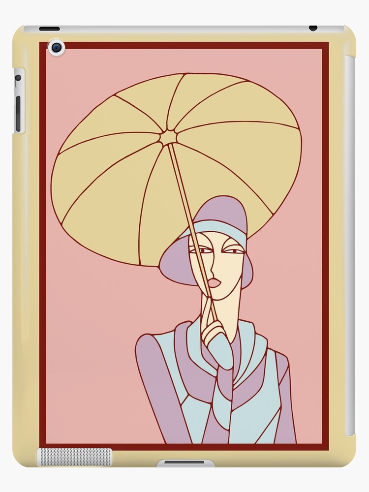 Jazz age flapper girl with umbrella art deco by aapshop