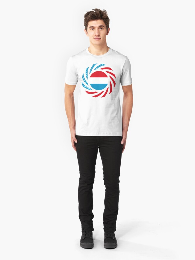 Alternate view of Luxembourgish American Multinational Patriot Flag Series Slim Fit T-Shirt