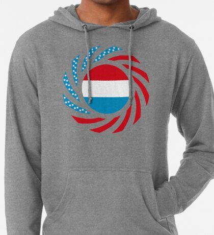 Luxembourgish American Multinational Patriot Flag Series Lightweight Hoodie