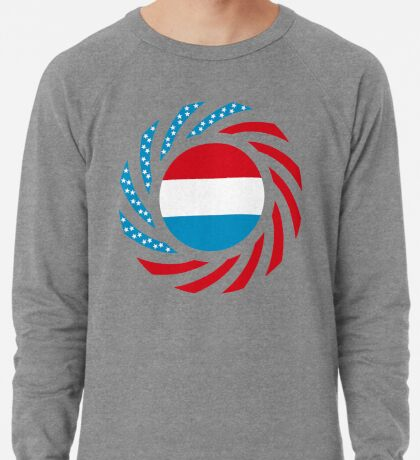 Luxembourgish American Multinational Patriot Flag Series Lightweight Sweatshirt