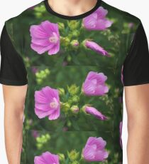 Delightful pink Mallow flowers Graphic T-Shirt