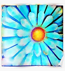 Blue and Gold Metal Daisy IV Poster