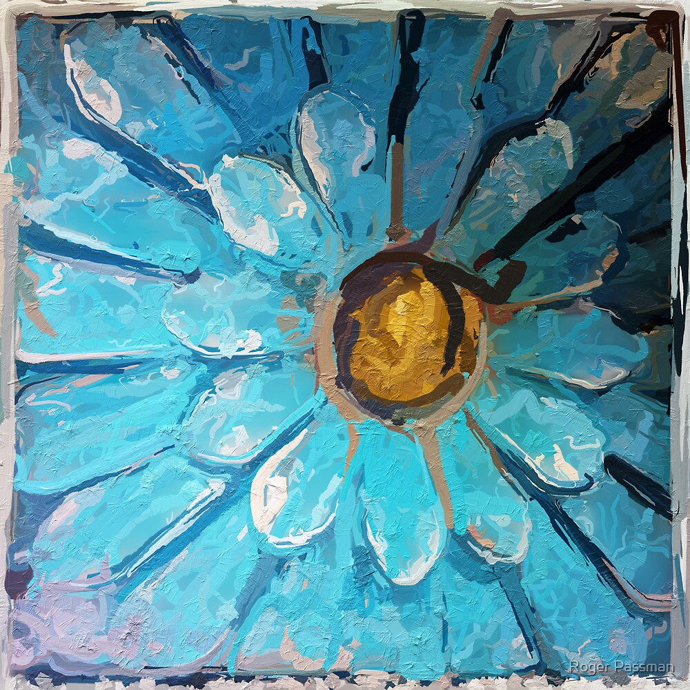 Blue and Gold Metal Daisy III by Roger Passman