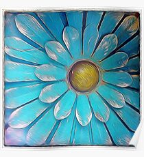Blue and Gold Metal Daisy II Poster