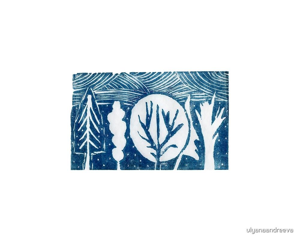 linocut trees by ulyanaandreeva