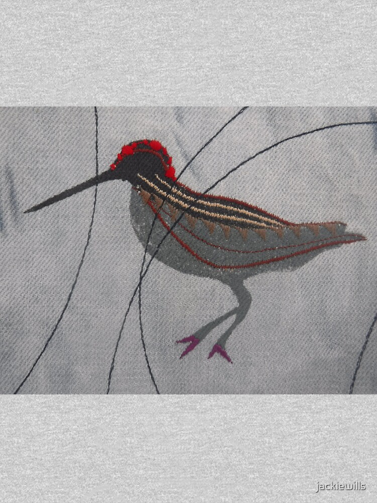 One Abstract Woodcock - Print of Embroidered Textile by jackiewills