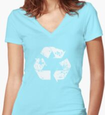 Recycle (Distressed - White) Women's Fitted V-Neck T-Shirt