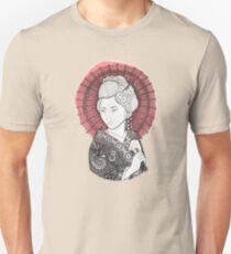 Bandera japonesa y geisha Camiseta ajustada