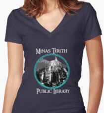 MINAS TIRITH PUBLIC LIBRARY Women's Fitted V-Neck T-Shirt