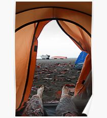 camping on the beach Poster