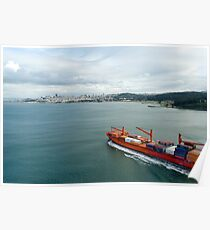 laden container ship Poster