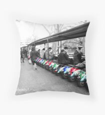 Multicoloured Mopeds Throw Pillow