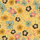 Ditsy Flowers in yellow by Michelle  Grace