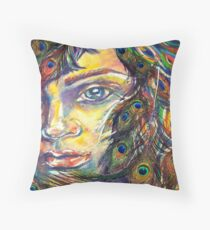 Peacock Woman Throw Pillow
