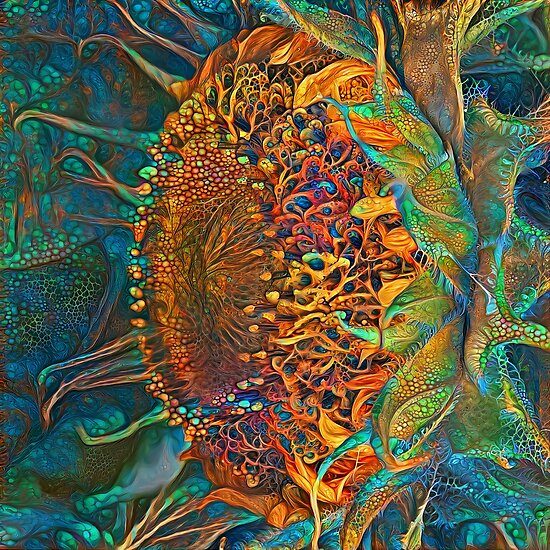 Abstract digital painting of extraterrestrial flowers