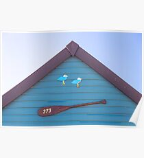 Beach hut no. 373 ~ gulls and oar Poster