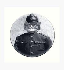 Police Cat Round Art Print