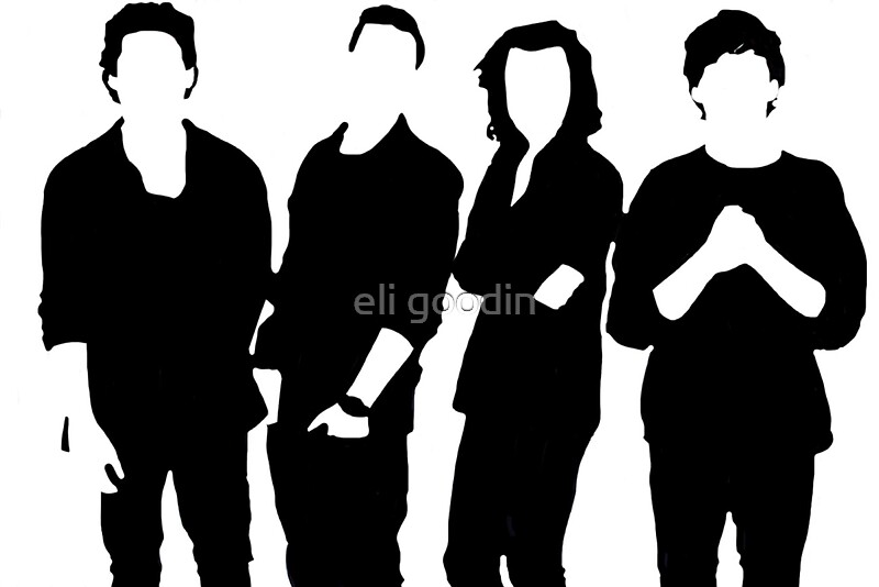 Quot One Direction Silhouette Black And White Quot Stickers By