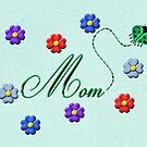 Green Heart Ladybug Mom Flowers Card by Chere Lei