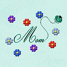 Aqua Heart Ladybug Mom Flowers Card by Chere Lei