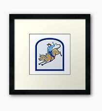 Rodeo Cowboy Bull Riding Cartoon Framed Print