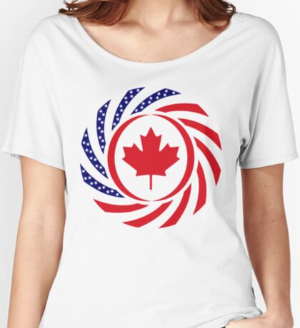 Canadian American Multinational Patriot Flag Series Relaxed Fit T-Shirt