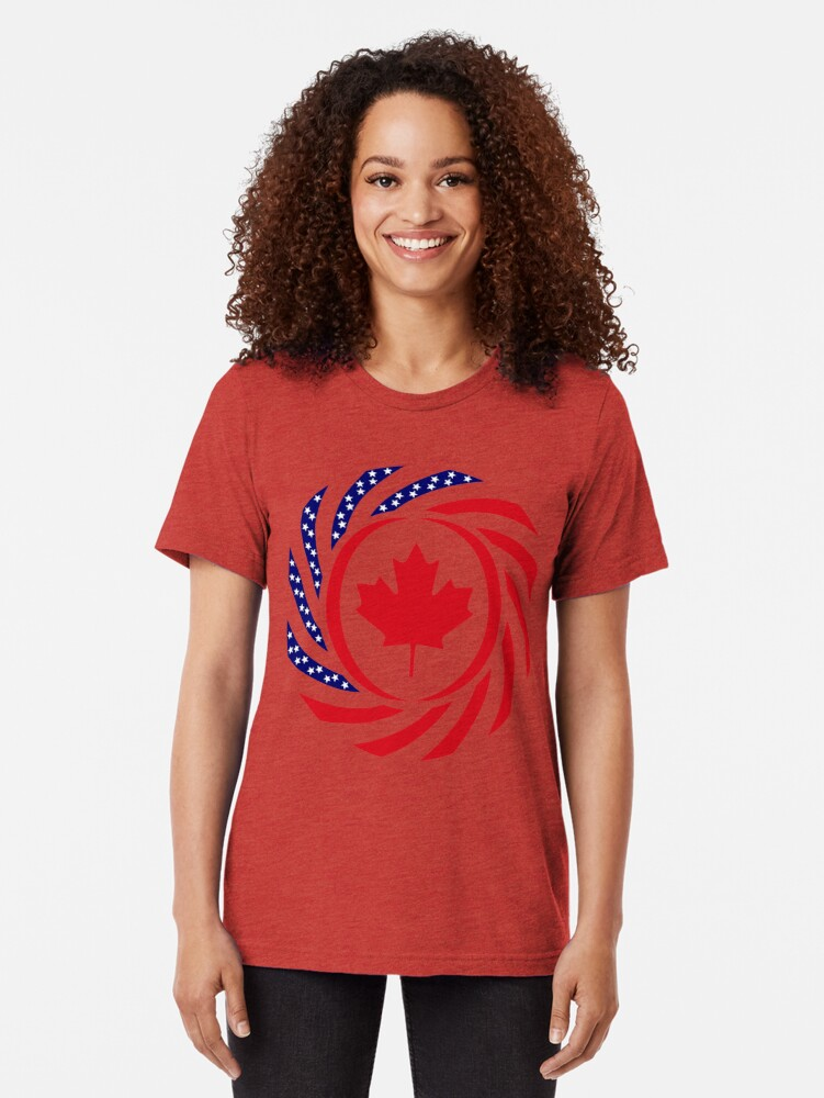 Alternate view of Canadian American Multinational Patriot Flag Series Tri-blend T-Shirt