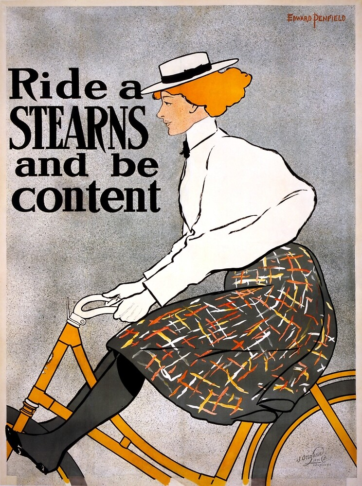 Vintage Stearns Bicycle Advertising Poster by pdgraphics