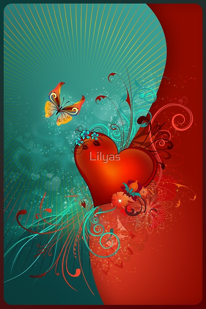 Red Heart with Butterfly POSTCARD by Lilyas