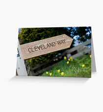 Wooden Cleveland Way signpost Greeting Card