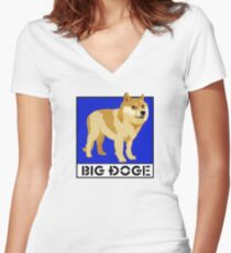 "Dogecoin inspired by ""Big Dogs"" Women's Fitted V-Neck T-Shirt"