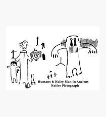 Human & Hairy Man Pictographs Photographic Print