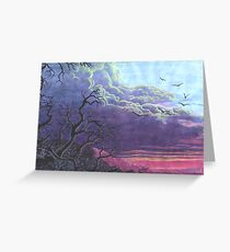Landscape Purple Blue Sky Greeting Card
