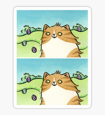 Cat with Colourful Easter Eggs Sticker