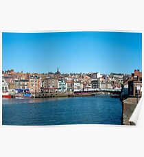 Whitby harbour and swing bridge Poster
