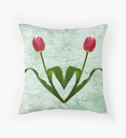 Tulip Heart Throw Pillow