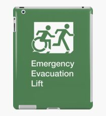 Emergency Evacuation Lift Sign, Right Hand, with the Accessible Means of Egress Icon and Running Man, part of the Accessible Exit Sign Project iPad Case/Skin