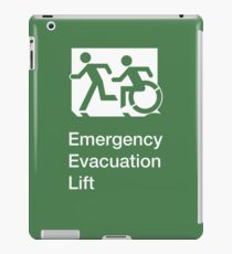 Emergency Evacuation Lift Sign, Left Hand, with the Accessible Means of Egress Icon and Running Man, part of the Accessible Exit Sign Project iPad Case/Skin