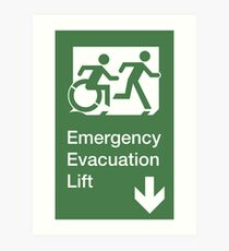 Emergency Evacuation Lift Sign, Right Hand Down Arrow, with the Accessible Means of Egress Icon and Running Man, part of the Accessible Exit Sign Project Art Print