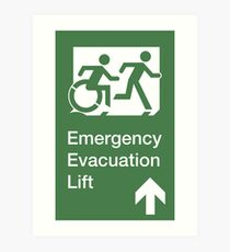 Emergency Evacuation Lift Sign, Right Hand Up Arrow, with the Accessible Means of Egress Icon and Running Man, part of the Accessible Exit Sign Project Art Print