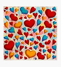 Coloured Hearts ♥ Photographic Print