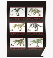 dinosaur chasing joggers anti-motivation Poster