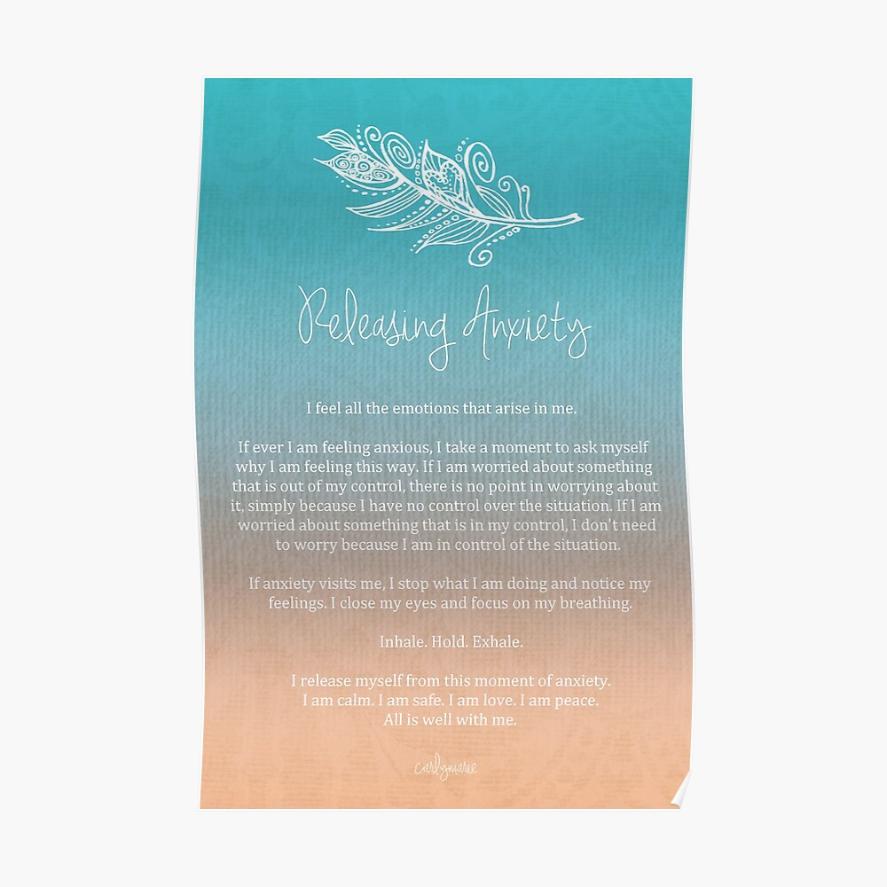 Quot Affirmation Releasing Anxiety Quot Poster By Carlymarie