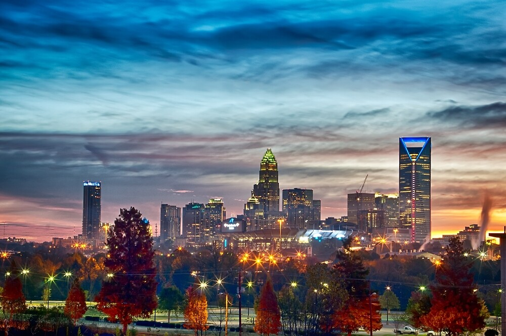 charlotte north carolina skyline morning sunrise by ALEX GRICHENKO